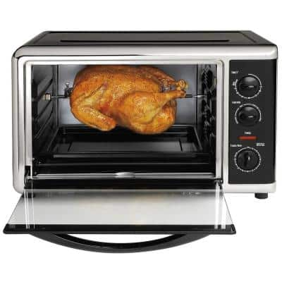 1500-Watt 12-Slice Black Countertop Oven with Convection and Rotisserie