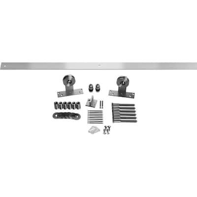 1-1/2 in. x 48 in. x 4-3/4 in. Steel Straight Top Barn Door Hardware Set Moulding Stainless Steel