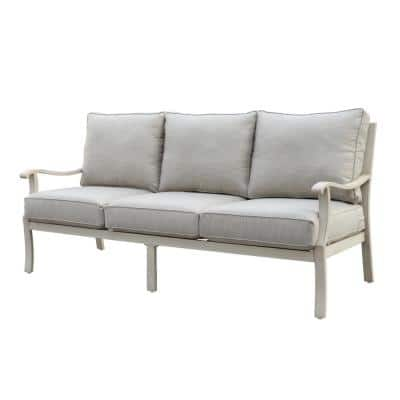 Torino Collection Aluminum Outdoor Sofa with Beige Cushions