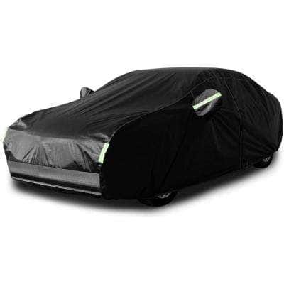 185 in. x 73 in. x 57 in. Outdoor Ventilated Weatherproof Car Cover with Reflective Strips for Tesla Model 3 in Black