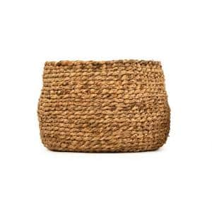 Round Concave Hand Woven Water Hyacinth Large Basket without Handles