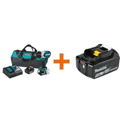 18-Volt LXT Brushless High Torque 1/2 in. Square Drive Impact Wrench Kit, 5.0Ah with Bonus 18V LXT Battery Pack 5.0Ah