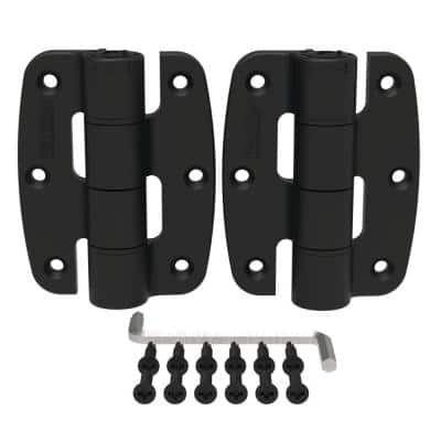 3.187 in. x 4.62 in. Compact Polymer Butterfly Black Hinge Kit (2-Pack)