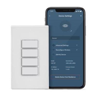 Decora Smart Wi-Fi 4 Button Controller, No Hub Required, Wall Plate Included, White (1-Pack)
