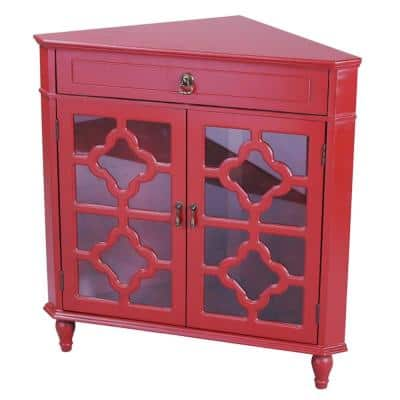 Shelly Assembled Red D Wood Clear Glass Utility Cabinet with a Drawer and 2-Doors