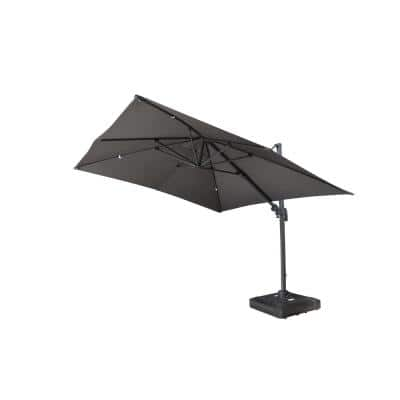 10 ft. Sabia Square Cantilever Patio Umbrella in Dark Grey with Base