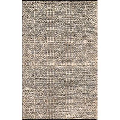 Alden Natural 4 ft. x 6 ft. Textured Diamonds Indoor Area Rug