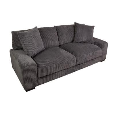 Big Chill 91 in. Charcoal Microfiber 3 Seater Lawson Sofa with Removable Cushions