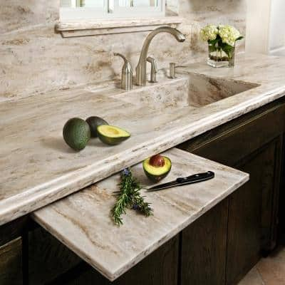 2 in. x 2 in. Solid Surface Countertop Sample in Sandalwood