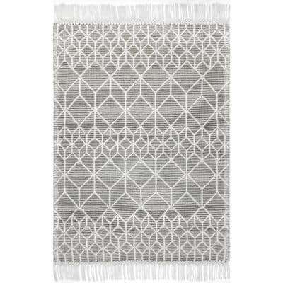 Hadassah Modern Textured Prisms Gray 5 ft. x 8 ft. Area Rug
