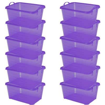 55 Qt. Purple Stackable Closet and Storage Box Containers (12-Pack)