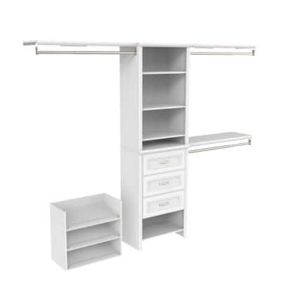 Impressions Premium 60 in. W - 120 in. W White Wood Closet System