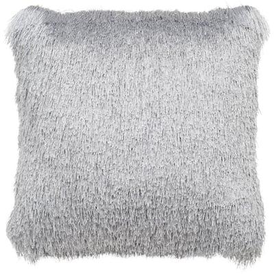 Soleil Shag Silver Square Outdoor Throw Pillow