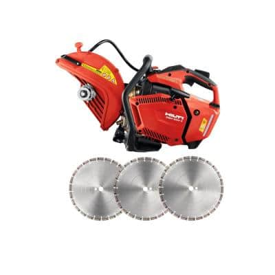 DSH 600-X 63 cc 12 in. Hand Held Gas Saw with 3-Pack 12 in. Premium Universal Diamond Saw Blades