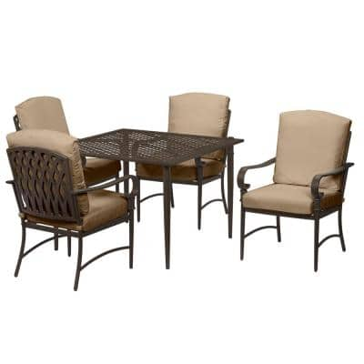 Oak Cliff Brown 4-Piece Steel Outdoor Patio Conversation Seating Set with CushionGuard Toffee Tan Cushions