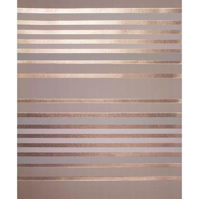 Mayfair Rose Gold Metallic Stripe 20.5 in. x 33 ft. Unpasted Peelable Paper Wallaper