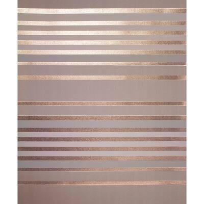 Mayfair Rose Gold Metallic Stripe Rose Gold Wallpaper Sample