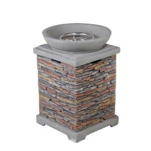 Maxwell 20.08 in. x 29.33 in. Square Stainless Steel Propane Grey Fire Pit Table