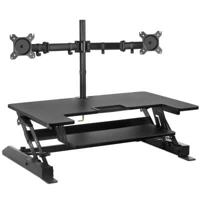 36.25 in. W Black Sit-Stand Desk Converter with Dual Monitor Mount