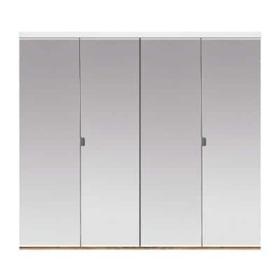 48 in. x 80 in. Polished Edge Mirror Solid Core MDF Interior Closet Bi-Fold Door with White Trim