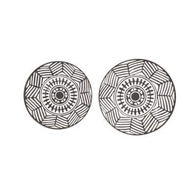 3 in. x 16 in. Black Ceramic Eclectic Abstract Wall Decor (Set of 2)