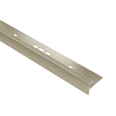 Vinpro-Step Brushed Nickel Anodized Aluminum 1/4 in. x 8 ft. 2-1/2 in. Metal Resilient Tile Edge Trim