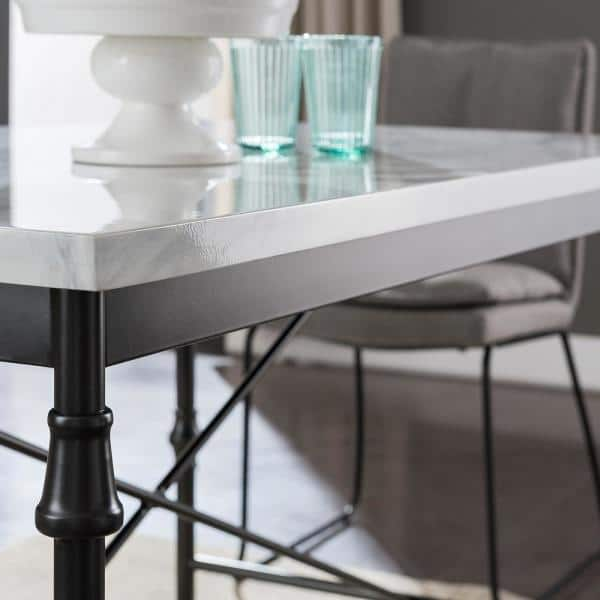 Southern Enterprises Sorent White Faux Marble Dining Table Hd530215 The Home Depot