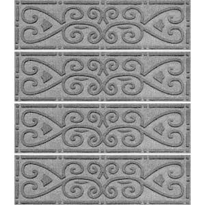 Scroll 8.5 in. x 30 in. Stair Treads (Set of 4) Medium Gray