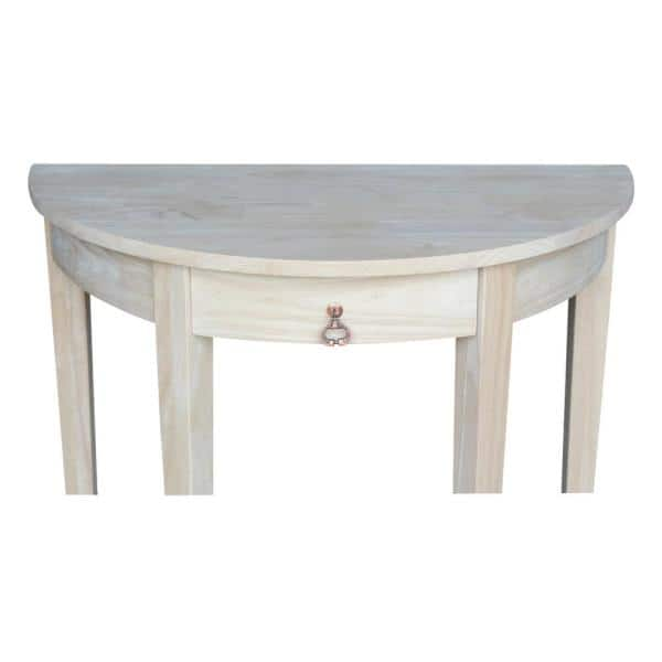 International Concepts 32 In Unfinished Standard Half Moon Wood Console Table With Drawers Ot 3216h The Home Depot