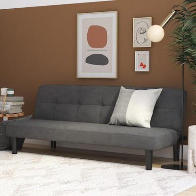 Daron Gray Microfiber Upholstered Futon