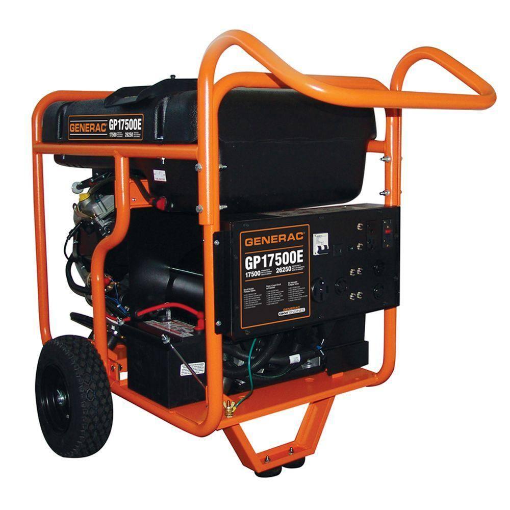 Generac 17,500-Watt Gasoline Powered Electric Start Portable Generator-5735  - The Home Depot | Generac 15000 Portable Generator Wiring Diagram |  | The Home Depot