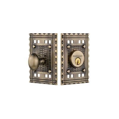 Craftsman Plate 2-3/8 in. Backset Single Cylinder Deadbolt in Antique Brass