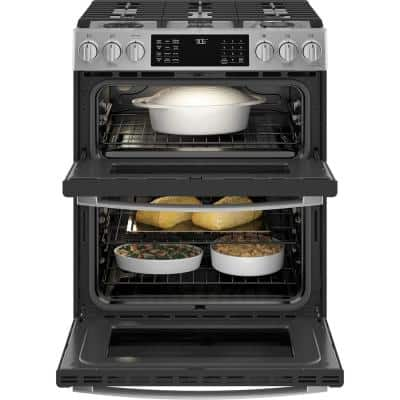 Profile 6.7 cu. ft. Smart Slide-In Double Oven Gas Range with Self-Cleaning Convection Oven in Stainless Steel