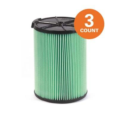 5-Layer HEPA Media Pleated Paper Filter for Most 5 Gal. and Larger Wet/Dry Shop Vacuums(3-Pack)