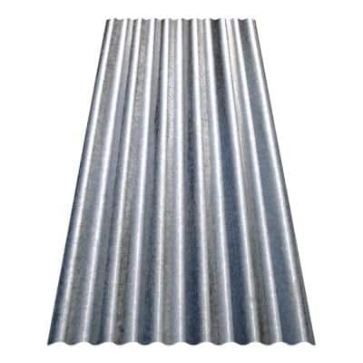 8 ft. Corrugated Galvanized Steel Utility-Gauge Roof Panel in Silver