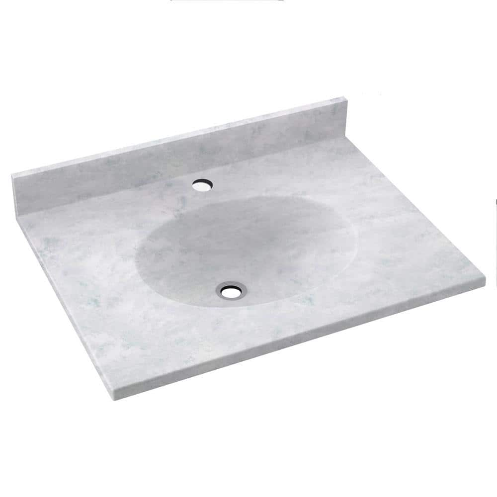 Swan Ellipse 19 In W X 17 In D Solid Surface Vanity Top With Sink In Ice Vt01719 130 The Home Depot