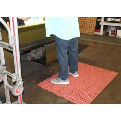 K-series Red 39 in. x 58 in. Drain Thru-Grease-Resistant Rubber Kitchen Mat