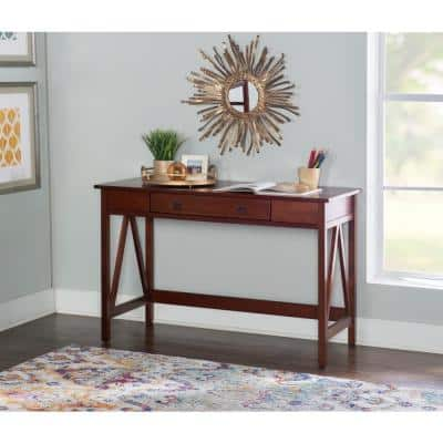 46 in. Rectangular Antique Tobacco 1 Drawer Writing Desk with Built-In Storage