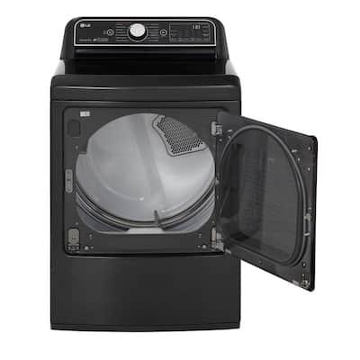 7.3 cu. ft. Ultra Large Black Steel Smart Electric Vented Dryer with EasyLoad Door, Sensor Dry & TurboSteam, ENERGY STAR