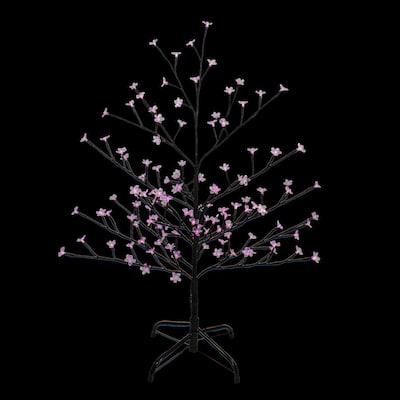 4 ft. Pink LED Lighted Sakura Cherry Blossom Flower Artificial Tree