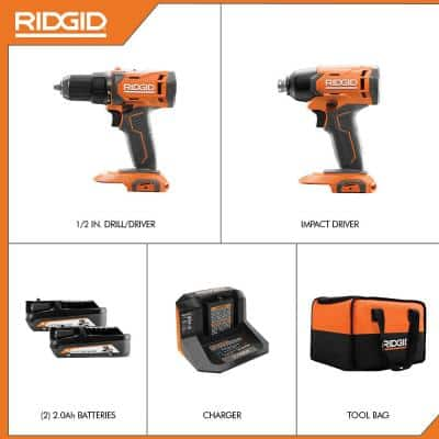 18V Cordless 2-Tool Combo Kit with 1/2 in. Drill/Driver, 1/4 in. Impact Driver, (2) 2.0 Ah Batteries, Charger, and Bag