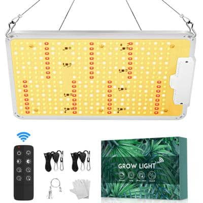 9.5 in. 250-Watt Equivalent Silver Dimmable Full Spectrum LED Plant Grow Light with Remote Control