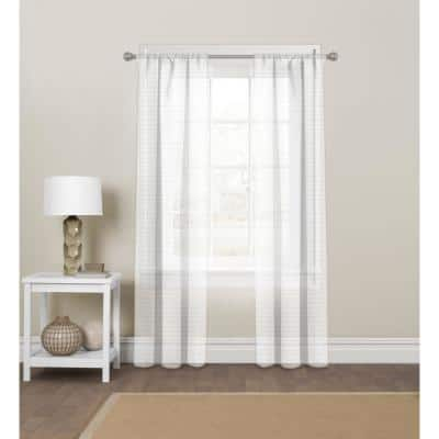 White Striped Polyester 60 in. W x 84 in. L Rod Pocket Sheer Curtain Panel