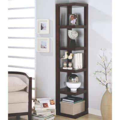 Lawrene Cappuccino Corner Bookcase