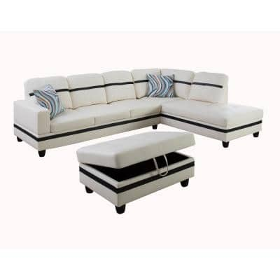White with Black Stripe Right Facing Faux Leather Sectional Sofa Set