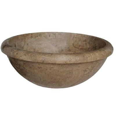 Rim Top Natural Stone Vessel Sink in Almond Brown