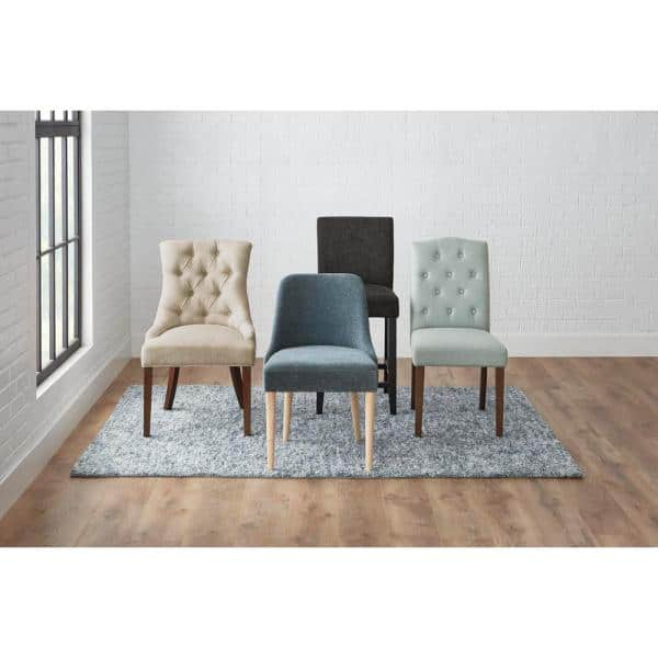 Stylewell Bakerford Walnut Finish Upholstered Dining Chair With Biscuit Beige Seat Set Of 2 21 85 In W X 36 22 In H Nutton D Wb The Home Depot
