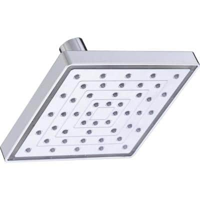 1-Spray 6 in. Single Wall Mount LED Lighted Fixed Rain Shower Head in Chrome