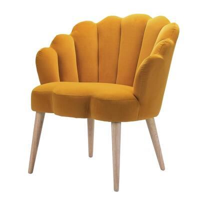 Flora Mustard Yellow Scalloped Velvet Arm Chair