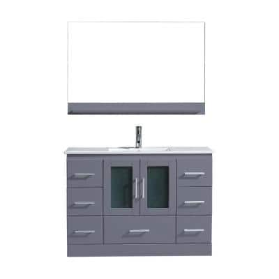 Zola 48 in. W Bath Vanity in Gray with Ceramic Vanity Top in Slim White Ceramic with Square Basin and Mirror and Faucet